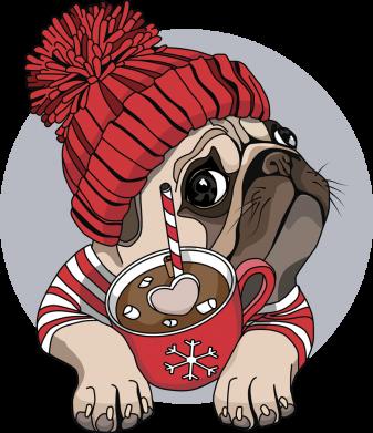 Принт Кружка 320ml Pug And Coffee, Фото № 1 - FatLine