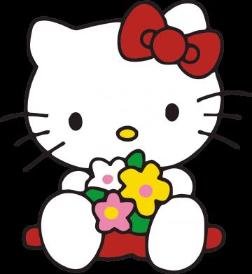 Принт Женские шорты Kitty с букетиком - FatLine