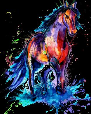 Принт Женская футболка Watercolor horse, Фото № 1 - FatLine