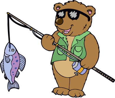 Принт Мужская футболка  с V-образным вырезом Медведь ловит рыбу - FatLine