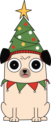 Принт Кепка New Year's Pug, Фото № 1 - FatLine