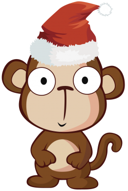 Принт Футболка Поло Christmas monkey - FatLine