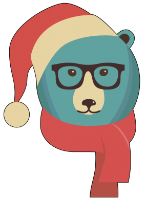 Принт Подушка Hipster Christmas Bear - FatLine