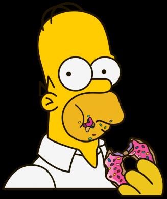 Принт Тельняшка с длинным рукавом Гомер любит пончики - FatLine