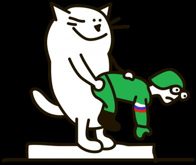 Принт Тельняшка с длинным рукавом Вежливый кот - FatLine