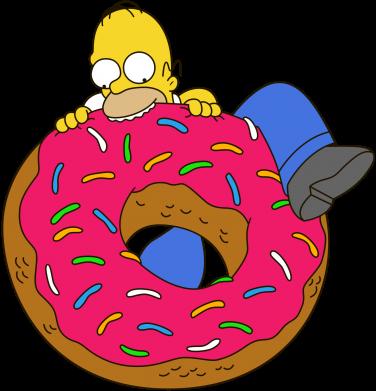 Принт Мужская футболка  с V-образным вырезом Гомер и Пончик - FatLine