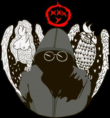 Принт Мужская футболка  с V-образным вырезом Говорун на левом плече, гамаюн на правом - FatLine