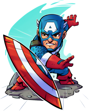 Принт Реглан Cartoon Captain America - FatLine