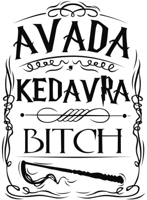 Принт Мужская футболка  с V-образным вырезом Avada Kedavra Bitch - FatLine