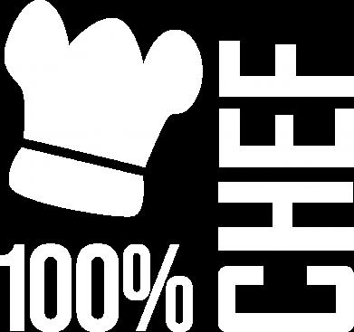 Принт Женская футболка с V-образным вырезом 100% Chef - FatLine