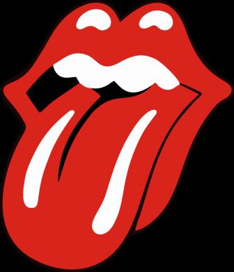Принт Женская футболка с V-образным вырезом Язык Rolling Stones - FatLine