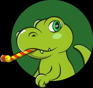 Принт Жіноча футболка Святковий динозавр, Фото № 1 - FatLine