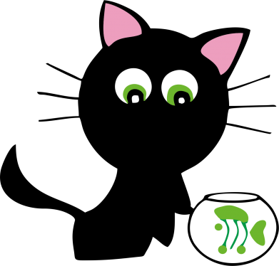 Принт Кружка двухцветная Кошечка и аквариум - FatLine