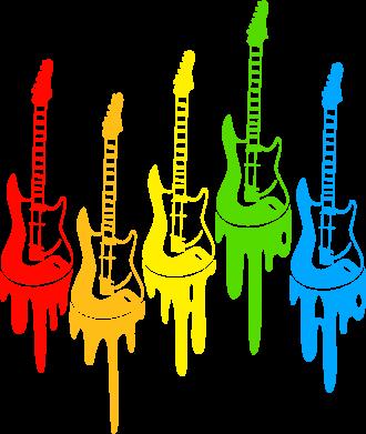 Принт Футболка с длинным рукавом Разноцветные гитары - FatLine
