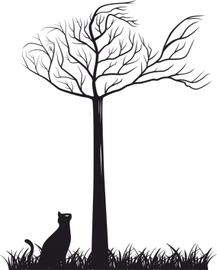 Принт Женская футболка поло Кот прыгает на дерево - FatLine