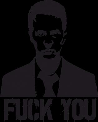Принт Женская футболка с V-образным вырезом fuck you (бойцовский клуб) - FatLine