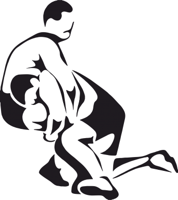 Принт Женская футболка с V-образным вырезом Захват в борьбе - FatLine