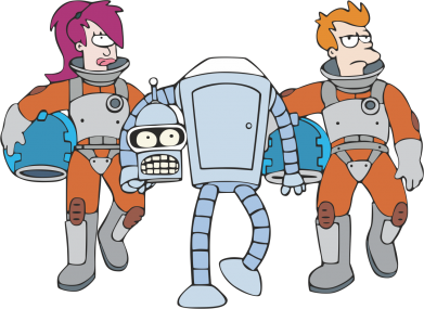 Принт Подушка Bender, Fry and  Leela - FatLine