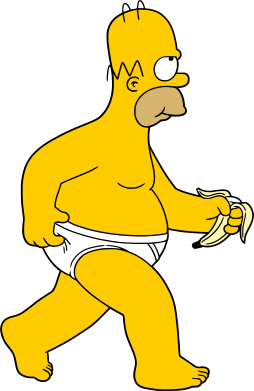 Принт Женская футболка поло Гомер Симпсон в трусиках - FatLine