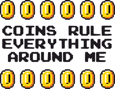 Принт Футболка Поло Coins rule everything around me - FatLine