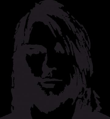 Принт Мужская футболка  с V-образным вырезом Портрет Курта Кобейна - FatLine
