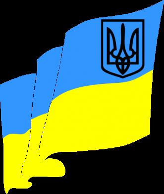Принт Мужская футболка  с V-образным вырезом Флаг Украины с Гербом - FatLine