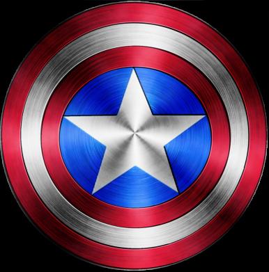Принт Мужская футболка  с V-образным вырезом Щит Капитана Америка - FatLine