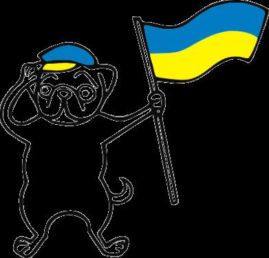 Принт Мужская футболка  с V-образным вырезом Пес з прапором - FatLine