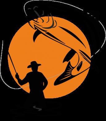 Принт Тельняшка с длинным рукавом Рыбак на фоне солнца - FatLine