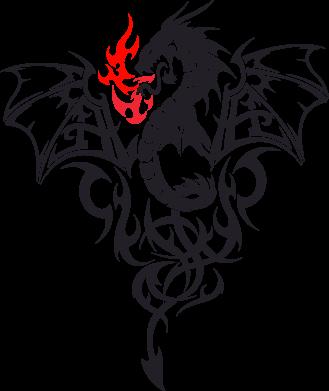 Принт Футболка с длинным рукавом Дракон - FatLine
