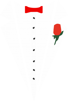 Принт Майка-тельняшка Смокинг с бабочкой и розой - FatLine