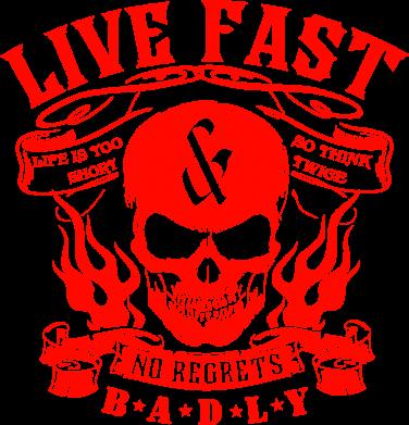 Принт Женская толстовка Live Fast and No Regrets Badly - FatLine