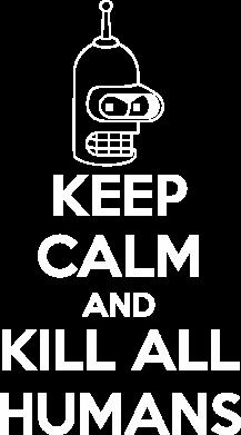Принт Тельняшка с длинным рукавом KEEP CALM and KILL ALL HUMANS - FatLine