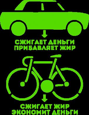 Принт Реглан Сравнение велосипеда и авто - FatLine