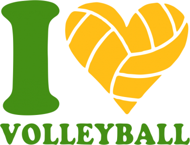 Принт Футболка Поло I love volleyball - FatLine