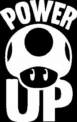 Принт Наклейка Power Up гриб Марио - FatLine