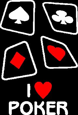 Принт Мужская футболка  с V-образным вырезом I love poker - FatLine