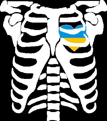 Принт Женская футболка Скелет з сердцем Україна - FatLine