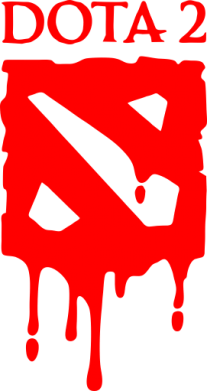 Принт Мужская футболка  с V-образным вырезом Dota 2 Logo - FatLine