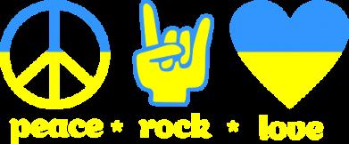 Принт Женская футболка Peace, Rock, Love - FatLine