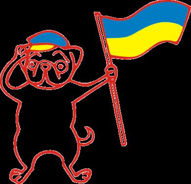 Принт Подушка Пес з прапором - FatLine
