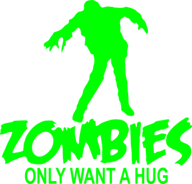 Принт Толстовка Zombies only want a hug - FatLine