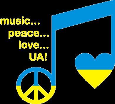 Принт Женская майка Music, peace, love UA - FatLine