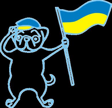 Принт Футболка Поло Пес з прапором - FatLine