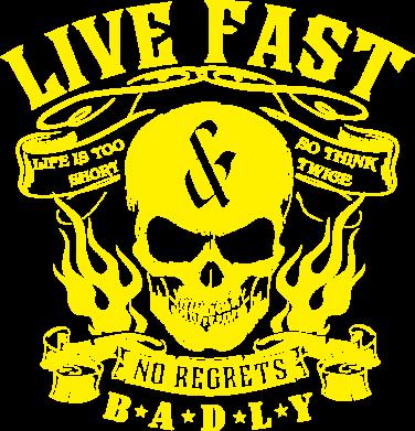 Принт Чоловіча толстовка Live Fast and No Regrets Badly, Фото № 1 - FatLine