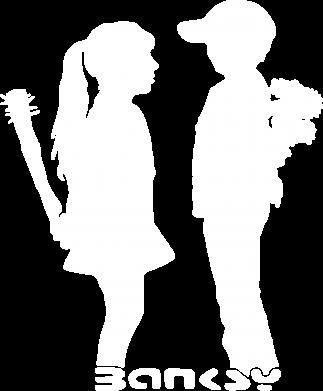 Принт Мужская футболка  с V-образным вырезом Пара Bancsy - FatLine