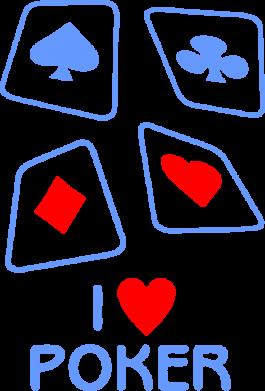 Принт Мужская майка I love poker - FatLine
