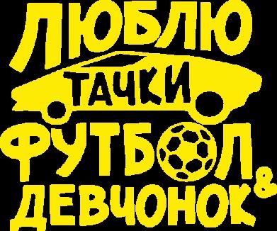 Принт Женская футболка Люблю тачки, футбол и девченок! - FatLine