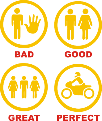 Принт Женская майка Bad, good, great, perfect biker! - FatLine