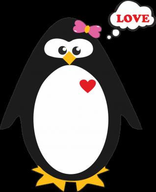 Принт Мужская футболка  с V-образным вырезом Пингвин девочка - FatLine